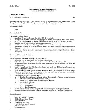 Course Outline for Dental Hygiene 56A, Page 1