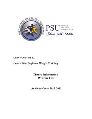 Course Title: Beginner Weight Training