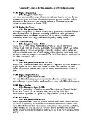 Courses Description for the Department of Civil Engineering