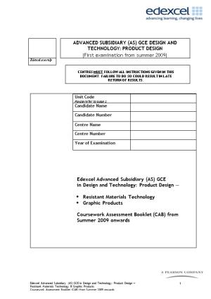 Coursework Assessment Booklet (CAB)