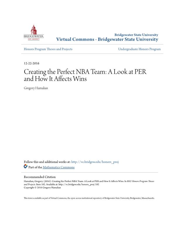 Creating the Perfect NBA Team: a Look at PER and How It Affects Wins