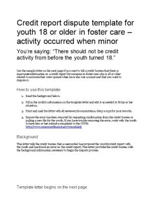 Credit Report Dispute Template for Youth 18 Or Older in Foster Care Activity Occurred When Minor