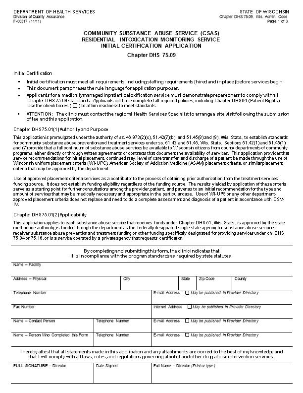 CSAS Residential Intoxication Monitoring Service Initial Certification Application-DHS