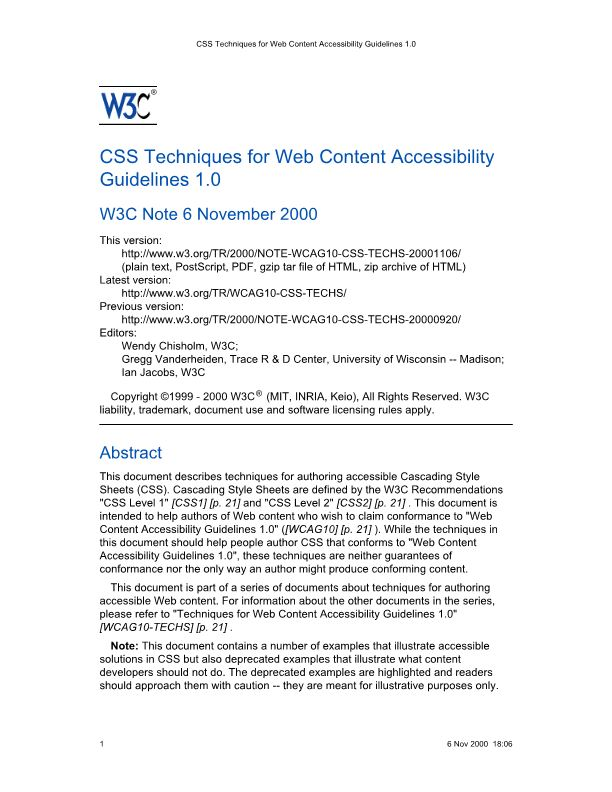 CSS Techniques for Web Content Accessibility Guidelines 1.0