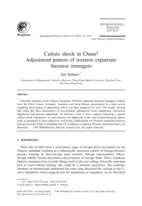 Culture Shock in China? Adjustment Pattern of Western Expatriate Business Managers