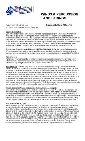 Culver City Middle School Course Outline 2014 - 15
