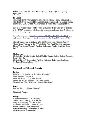 Curriculum for ENG 124 British Literature and Culture Spring 2006