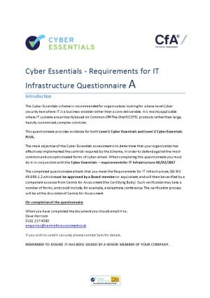 Cyber Essentials - Requirements for IT Infrastructure Questionnairea