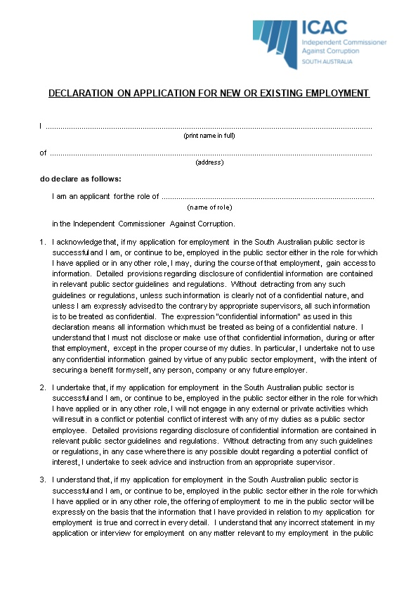 Declaration on Application for New Or Existing Employment