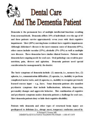 Dental Care and the Dementia Patient
