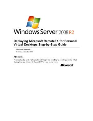 Deploying Microsoft Remotefx for Personal Virtual Desktops Step-By-Step Guide