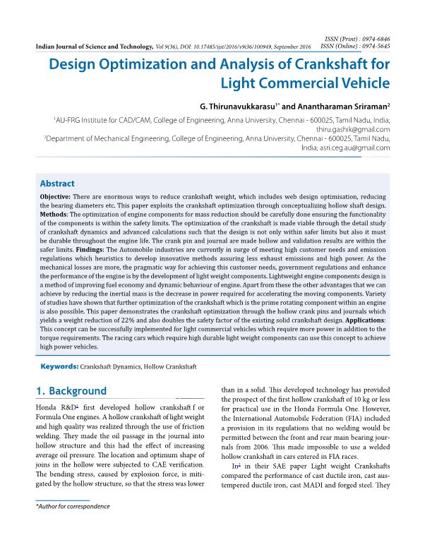 Design Optimization and Analysis of Crankshaft for Light Commercial Vehicle