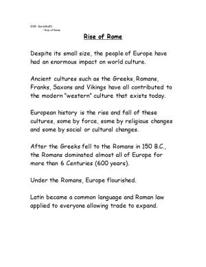 Despite Its Small Size, the People of Europe Have Had an Enormous Impact on World Culture