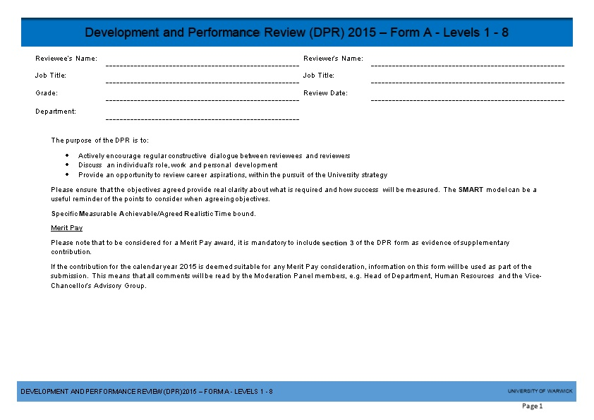 Development and Performance Review (DPR) 2015 Form a - Levels 1 - 8