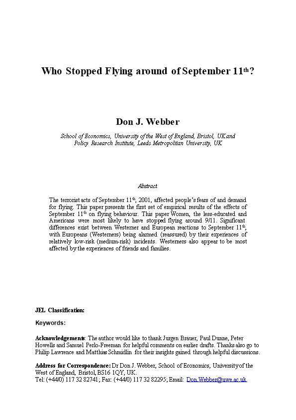 Differences in the Response to September the 11Th
