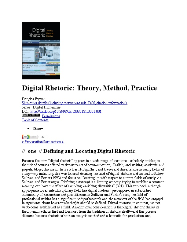 Digital Rhetoric: Theory, Method, Practice