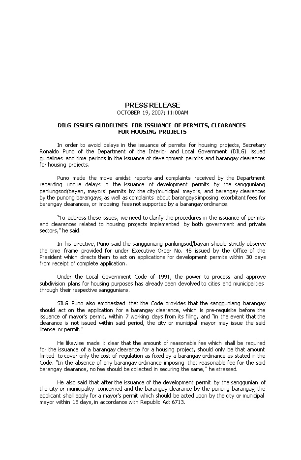 Dilg Issues Guidelines for Issuance of Permits, Clearances for Housing Projects
