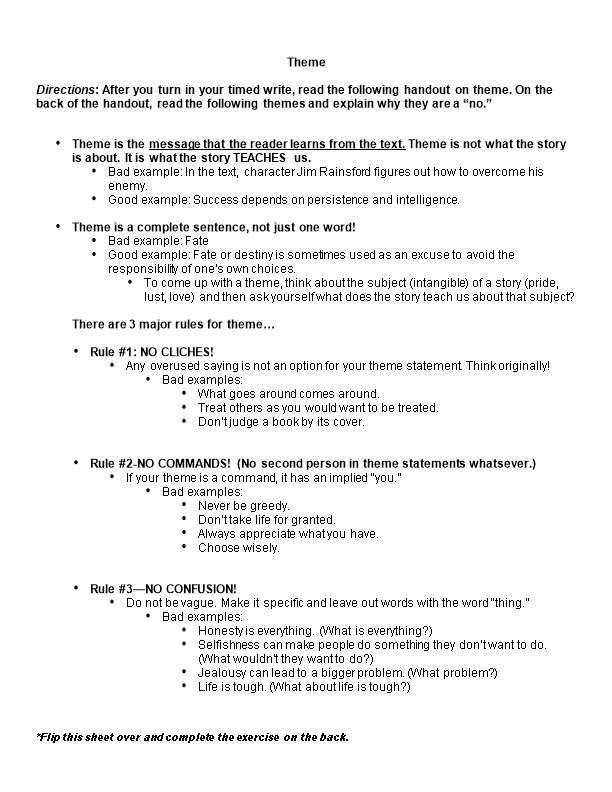 Directions: After You Turn in Your Timed Write, Read the Following Handout on Theme. On