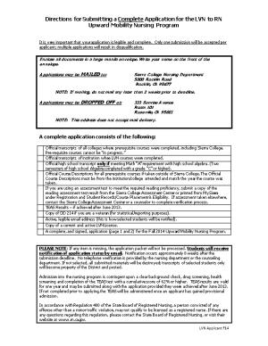 Directions for Submitting a Complete Application for the LVN to RN Upward Mobility Nursing