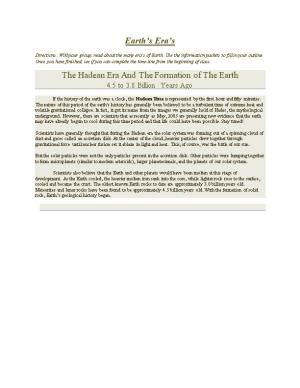 Directions: with Your Group, Read About the Many Era S of Earth. Use the Information Packets