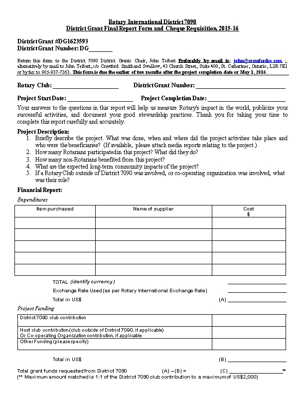 District Grant Final Report Form and Cheque Requisition, 2015-16