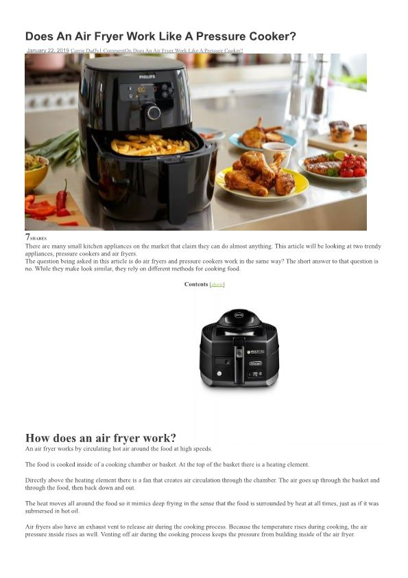 Does an Air Fryer Work Like a Pressure Cooker?