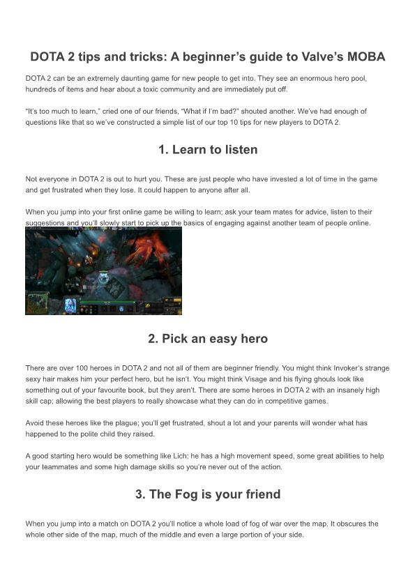 DOTA 2 Tips and Tricks a Beginner'S Guide to Valve'S MOBA - DocsBay