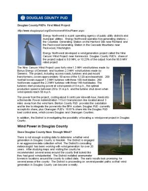 Douglas County PUD S First Wind Project