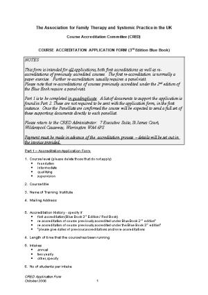 Draft CRED Application Form