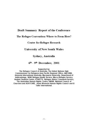 Draft Summary Report of the Conference