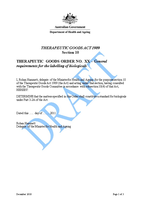 Draft: Therapeutic Goods Order No.Xx General Requirements for the Labelling of Biologicals