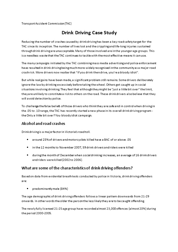 Drink Driving Case Study