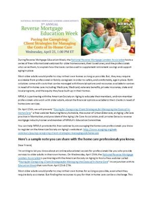 During Reverse Mortgage Education Week, the National Reverse Mortgage Lenders Association
