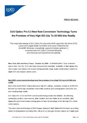 Dxo Optics Pro 5.3 New Raw Conversion Technology Turns the Promises of Very High ISO (Up