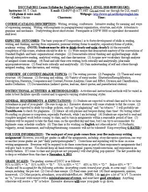 Dyersburg State Community College Course Syllabus for English Composition I (ENGL-1010)