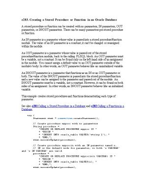 E283. Creating a Stored Procedure Or Function in an Oracle Database