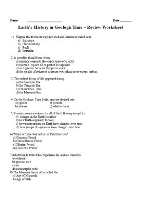 Earth S History in Geologic Time Review Worksheet