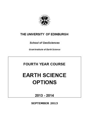 Earth Science Options Booklet 2013-2014