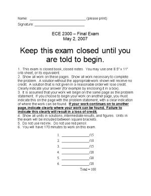 ECE 2300 Final Exam May 2, 2007 Page 1
