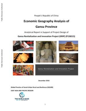 Economic Geography Analysis of Gansu Province