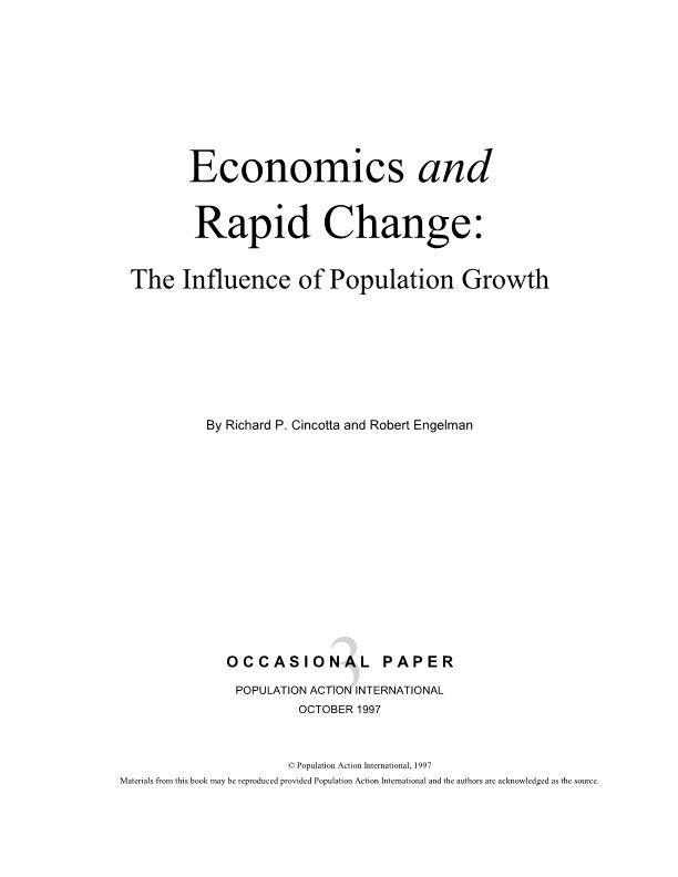 Economics and Rapid Change:The Influence of Population Growth