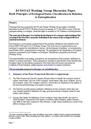 ECOSTAT Working Group Discussion Paper