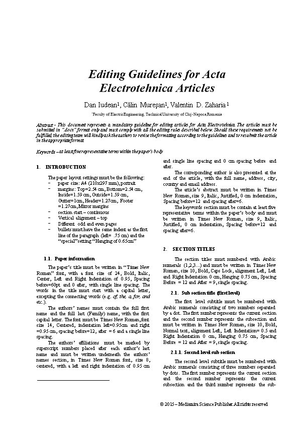 Editing Guidelines for Acta Electrotehnica Articles