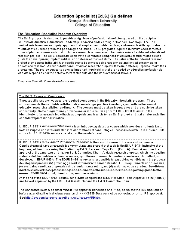 Education Specialist (Ed.S.) Guidelines