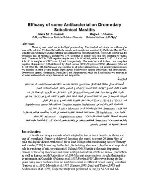 Efficacy of Some Antibacterial on Dromedary Subclinical Mastitis