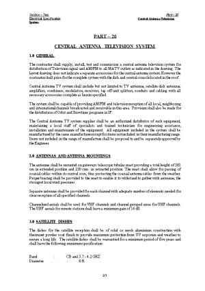 Electrical Specification Central Antenna Television System