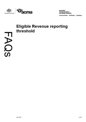 Eligible Revenue Threshold 2012-13 - FAQ