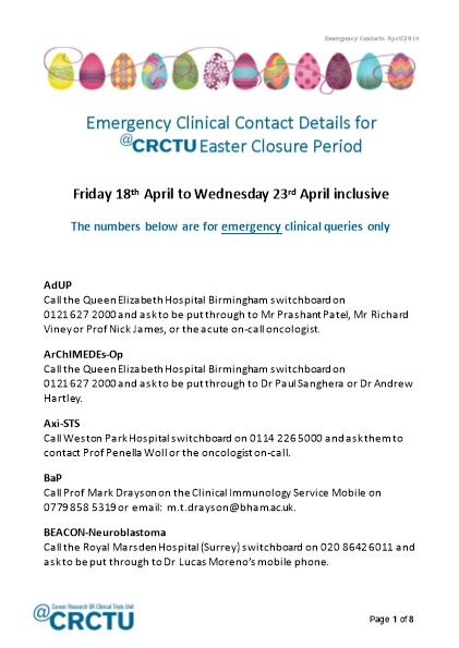 Emergency Clinical Contact Details During the Crctu - DocsBay
