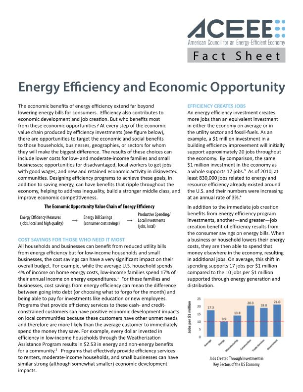 Energy Efficiency and Economic Opportunity