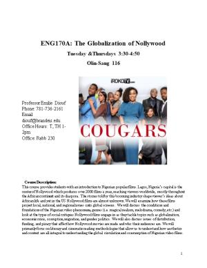 ENG170A: the Globalization of Nollywood